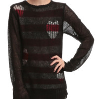 Joan Jett Tripp NYC Destructed Heart Sweater