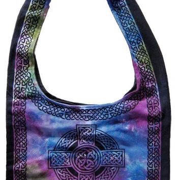 Handmade Cotton Celtic Cross Hobo Bag for Shopping Work Tote Flat Bottom 15x12