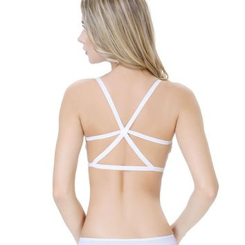 Women Cross Strap Padded Backless Wrapped Chest Tank Crop Top WH