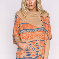 Aztec Button Neck Sweater In Taupe