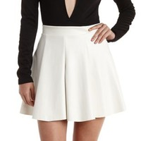 White Pleated Faux Leather Skater Skirt by Charlotte Russe