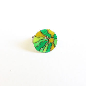 Hand painted Ring Sunshine lime green yellow mosaic Adjustable ring