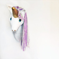 Faux Taxidermy Unicorn, Unicorn Head, Animal Head Wall Mount, Unicorn Decor,  Nursery Decor, Trophy Head, Kids Decor, Wall Sculpture