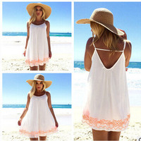 White Spaghetti Strap Backless Floral Embroidery Hemline A-Line Dress