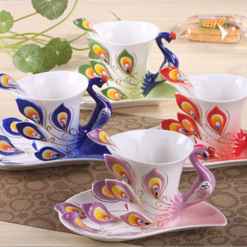 Peacock 3D Ceramic Porcelain Enamel Coffee Cup Set With Dish Spoon