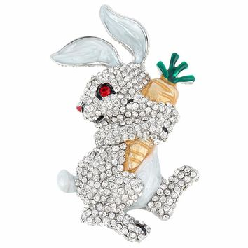 Bella Fashion Enameled Cute Rabbit Hold Carrot Brooch Pin Austrian Crystal Rhinestone Animal Brooch For Women Party Jewelry