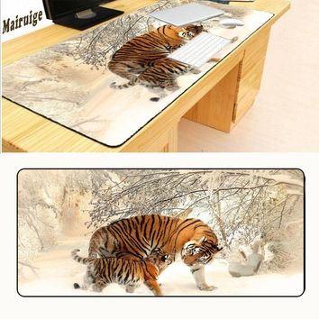 Mairuige900*400*2mm   Siberian Tiger Mouse Pad Pad Overlock Edge Big Gaming Mouse Pad Send Boy Friend The Best Gift