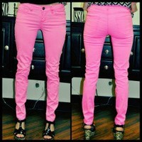 Skinny Jeans-Neon Pink