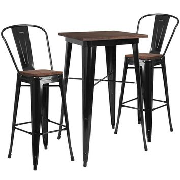 "23.5"" Square Metal Bar Table Set with Wood Top and 2 Stools"