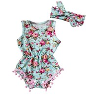 Baby Girls Floral Romper Jumpsuit with matching Headband