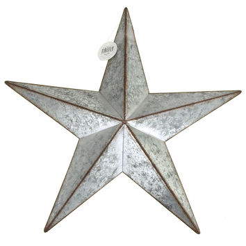 Galvanized Metal Star Christmas Decor, Silver, 15-Inch