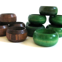 Vintage wooden Napkin Rings Holders ..  set of 15