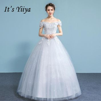 It's YiiYa Off White Sleeveless Boat Neck Hot Wedding Frocks Luxury Crystal Embroidery Appliques Quality Lace Up Bride Gown A635