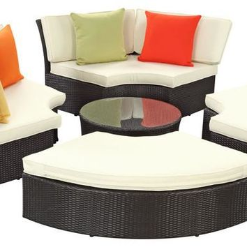 2016 Best Selling Outdoor Wicker Patio Furniture Round Daybed Set