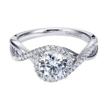 14K White Gold 1.24cttw Criss Crossed Round Diamond Engagement Ring