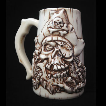 Pirate Skull Beer Mug, Handmade, Ceramic, Beer Stein, Porcelain, Sculpted Relief Decoration, Halloween