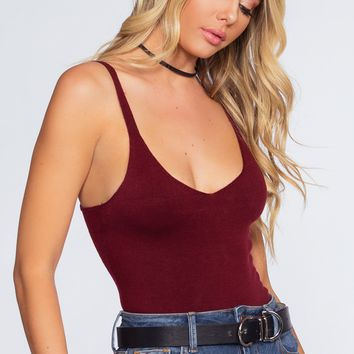 Jessie Knit Bodysuit - Burgundy