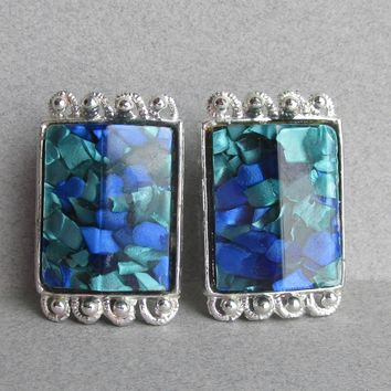 Signed PAM Vintage Blue Confetti Lucite Big Silver Tone Earrings