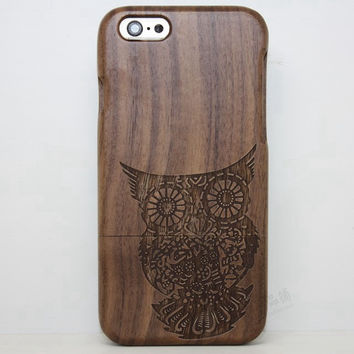 Owl Wood Case Solid wood Retro Wooden New Cover Carving flower Patterns Wood Slice Plastic Edges Back Cover for Iphone 6 case iPhone 6 Plus