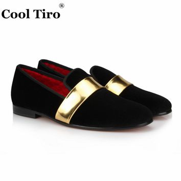 COOL TIRO New style Black velvet Handmade with Gold Patent Leather Buckle Fashion Loafers