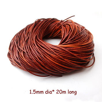 2016 New 1.5mm*20m/piece Black Brown Coffee Necklace Bracelet Fitting Round Genuine Cow String Cord Real Leather