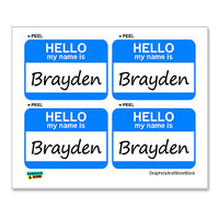 Brayden Hello My Name Is - Sheet of 4 Stickers