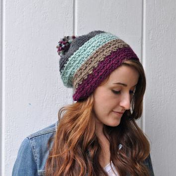 Wool Textured Slouchy Hat with PomPom - Color block Mint, Purple, and Gray
