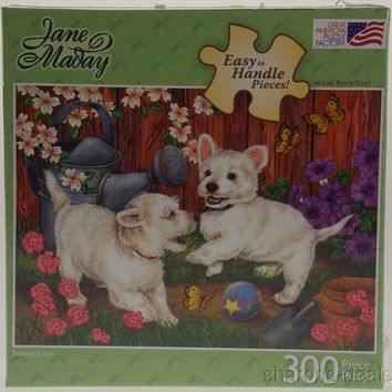 Jane Maday Dog Puppy Jigsaw Puzzle 300 Pc Backyard Fun 27x19 USA Easy Handle NEW