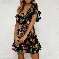 2019 Women Mini Dress Strap Floral Print Beach Style A Line Ruffles Casual Ladies Costume Fashion Femme Clothes Summer Dresses