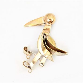 Brass Bird Brooch, Large Beak, Figural, Pelican, Vintage Brooches