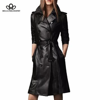 2016 winter new double-breasted long coat Slim pu faux leather female long trench coat jacket belted