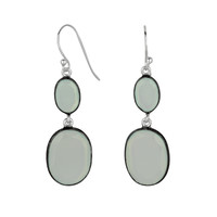 Double Drop Aqua Chalcedony Oval Gems Drop Earrings Set In Sterling Silver