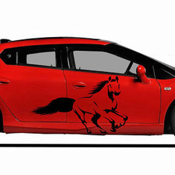 horse car hood decal horse Car Decals horse Car Truck horse Side Body Graphics Decal horse Sticker for car kikcar35