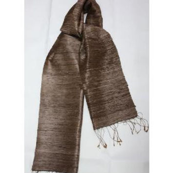 Thai silk Scarf - Rain striped Brown