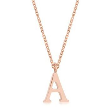 Rose Gold Stainless Steel Dainty Initial Pendant Necklace