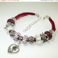 ON SALE European Charm Bracelet Handmade Purple Plum Flower heart Gift lampwork murano glass bead leather ribbon RhinestoneTibetan silver ch