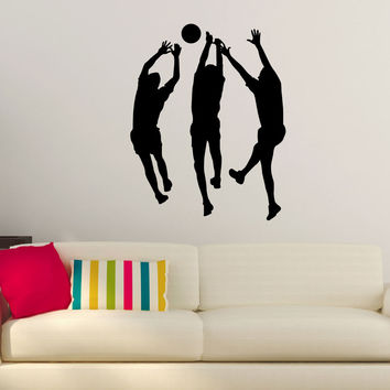 Volleyball Wall Sticker Decal - Male Players Blocking Attack Silhouette Decoration - #2