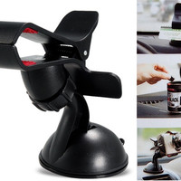 Universal Car Mobile Phone GPS Navigation Tablet PC Holder Windshield Mount Holder with Suction Pad (Black)