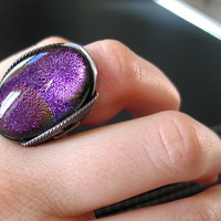 Ring Sparkly Pink Purple & Gold Dichroic Fused by HardCandyGems