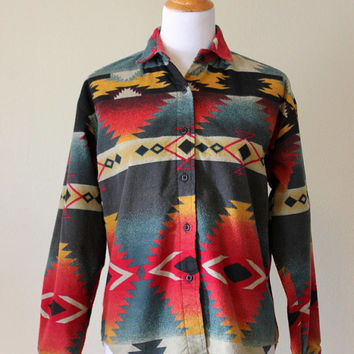 Vtg Navajo Print Cotton Flannel Shirt Jacket Women's Small  Woolrich Buttonup long sleeve