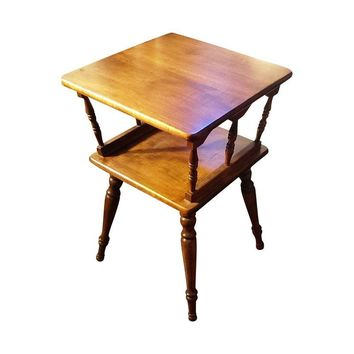Pre-owned Square 2-Tier Solid Wood Spindle Side Table