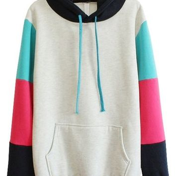 Sheinside® Women's Grey Hooded Contrast Long Sleeve Pocket Sweatshirt