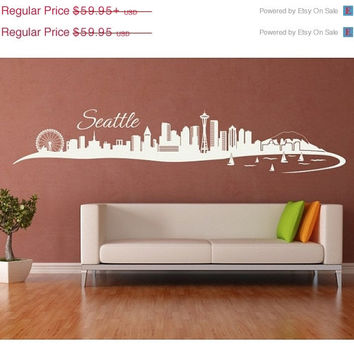 Seattle Skyline wall decal, sticker, mural, vinyl wall art