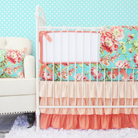Coral Camila Ruffle Baby Bedding Set; Coral Teal Nursery, Aqua and Coral Crib Bedding; Floral Baby Bedding