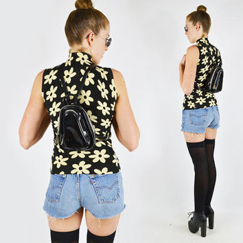 vtg 90s grunge festival black faux PATENT LEATHER small mini BACKPACK rucksack shoulder bag purse