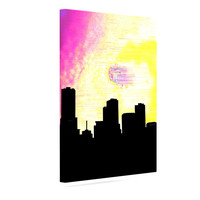 "Infinite Spray Art ""Skylined"" Pink Yellow Canvas Art"