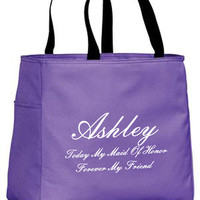 Today My Bridesmaid Forever My Friend Personalized Tote Bag, Customize with either Maid Of Honor, Bridesmaid, Flower girl or Any other Title