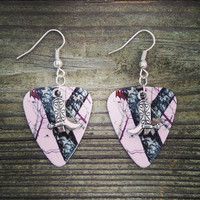 Light Pink Mossy Oak Camo Camouflage guitar pick earrings with silver cowboy cowgirl boot charm country girl jewelry