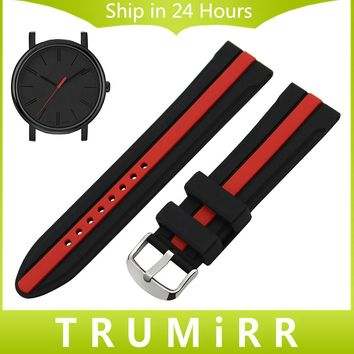 Silicon Rubber Watchband + Tool for Timex Men Women Watch Band Wrist Strap Replacement Bracelet Black Red 19mm 20mm 21mm 22mm