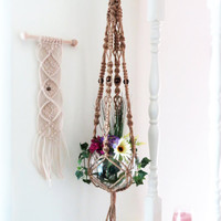 "Jute macrame plant hanger, macrame plant holder, hanging planter, 55"", pot holder, 6 ply NATURAL JUTE, crown knot, beads, hippie, 70s, large"
